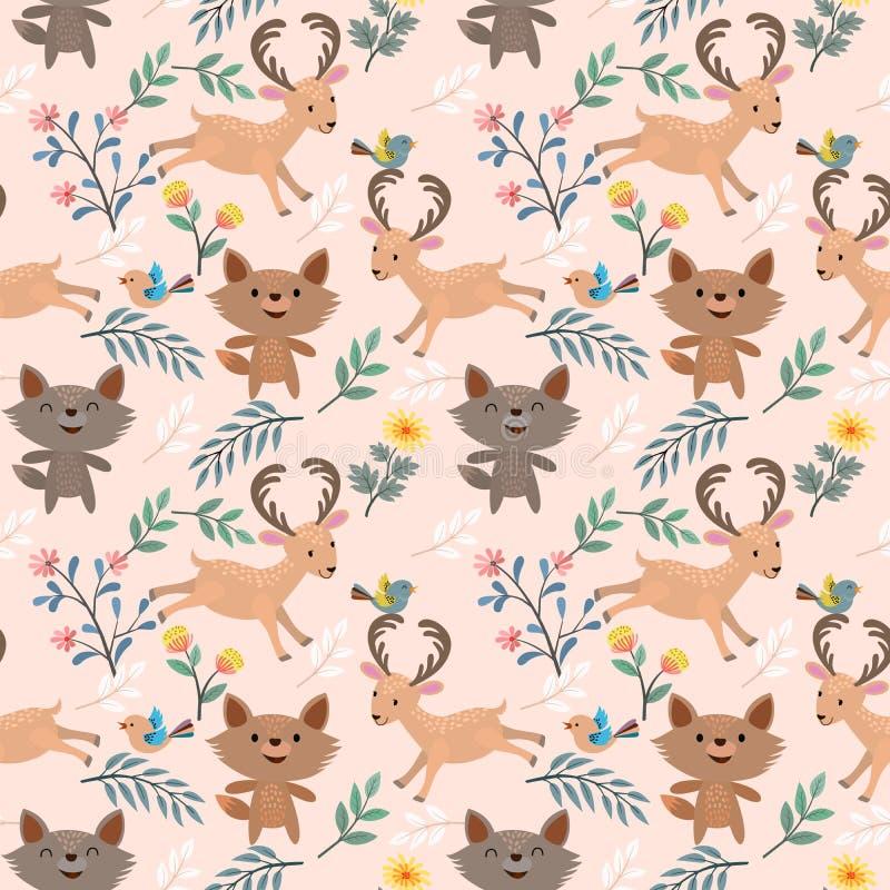 Λύκος και ελάφια στο σχέδιο κήπων λουλουδιών ελεύθερη απεικόνιση δικαιώματος