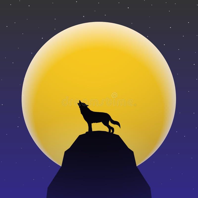 Λύκος που ουρλιάζει μπροστά από το έξοχο φεγγάρι απεικόνιση αποθεμάτων
