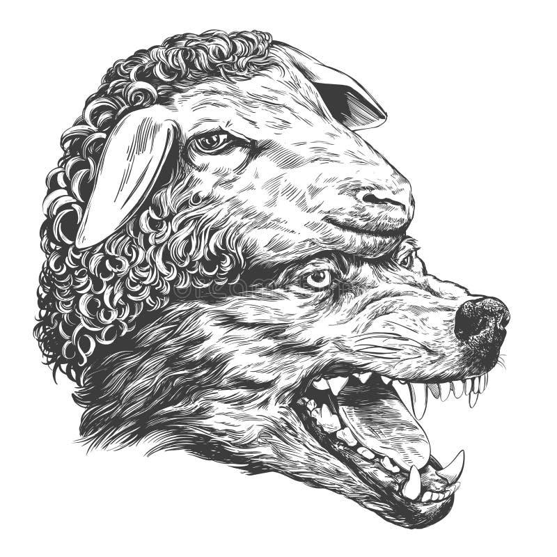 Λύκος στον ιματισμό προβάτων s, χριστιανική παραβολή, συρμένο χέρι διανυσματικό ρεαλιστικό σκίτσο απεικόνισης διανυσματική απεικόνιση