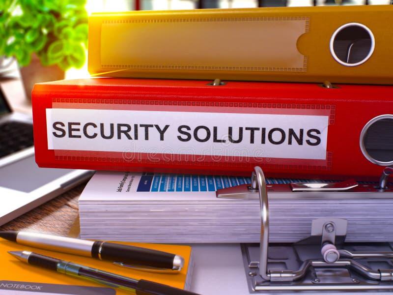 Λύσεις ασφάλειας στον κόκκινο φάκελλο γραφείων εικόνα που τονίζεται τρισδιάστατος στοκ φωτογραφία με δικαίωμα ελεύθερης χρήσης