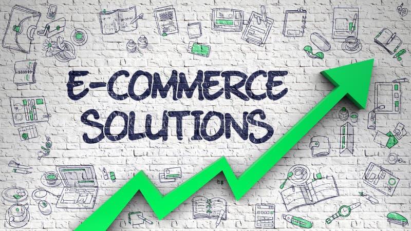 Λύσεις ηλεκτρονικού εμπορίου που επισύρονται την προσοχή στον άσπρο τοίχο r απεικόνιση αποθεμάτων