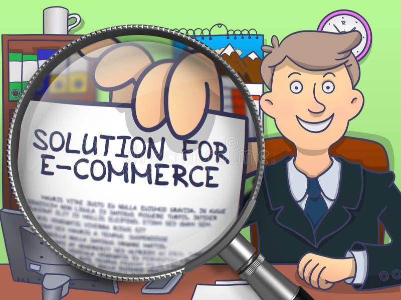 Λύση για το ηλεκτρονικό εμπόριο μέσω του φακού Σχέδιο Doodle απεικόνιση αποθεμάτων