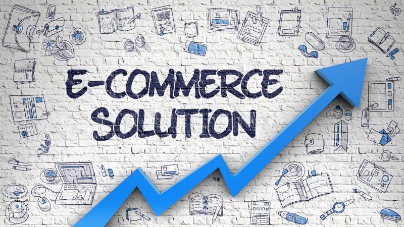 Λύση ηλεκτρονικού εμπορίου που επισύρεται την προσοχή σε άσπρο Brickwall απεικόνιση αποθεμάτων