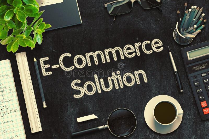 Λύση ηλεκτρονικού εμπορίου στο μαύρο πίνακα κιμωλίας τρισδιάστατη απόδοση διανυσματική απεικόνιση