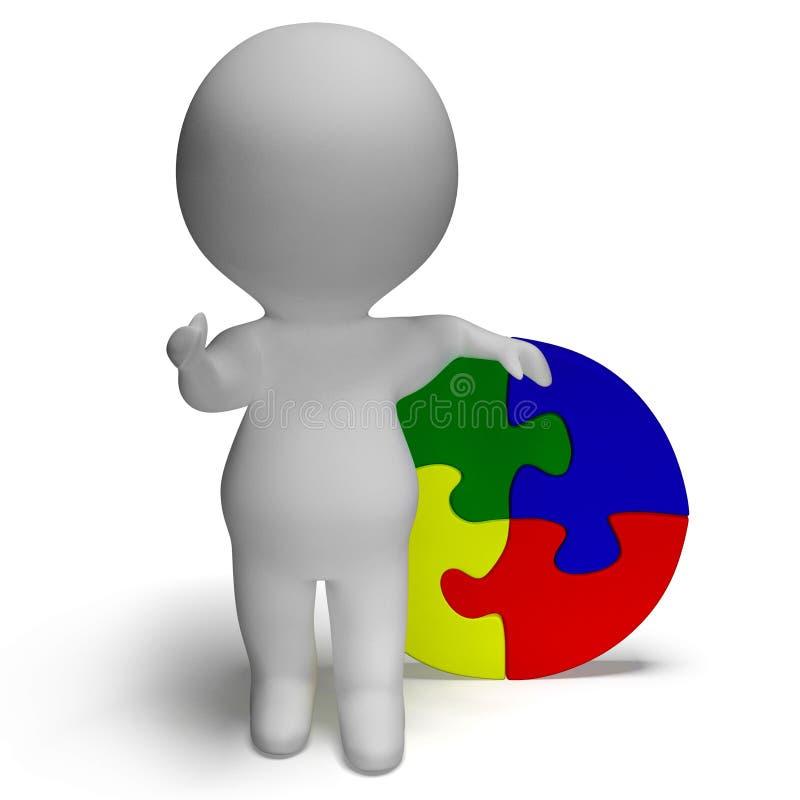 Λύση τορνευτικών πριονιών και τρισδιάστατος χαρακτήρας που παρουσιάζουν λύση ή που τελειώνουν διανυσματική απεικόνιση