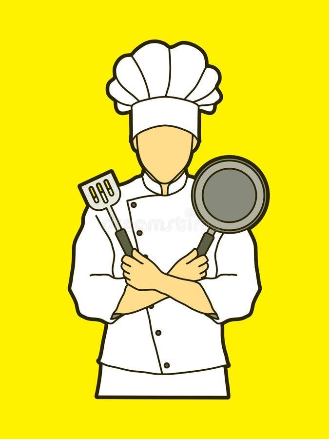 Μάγειρας αρχιμαγείρων που στέκεται τα διασχισμένα όπλα με το τηγάνι και spatula διανυσματική απεικόνιση