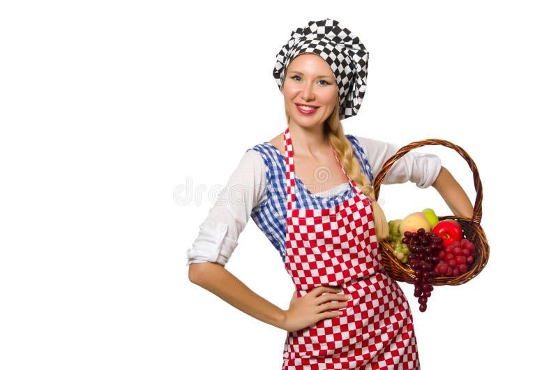 Download Μάγειρας γυναικών που απομονώνεται στο άσπρο υπόβαθρο Στοκ Εικόνα - εικόνα από ευτυχής, κορίτσι: 62707469