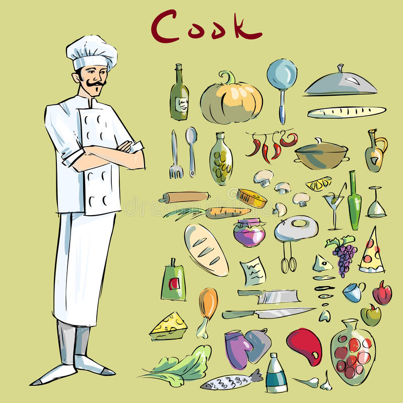 Μάγειρας και cookware στοκ φωτογραφία με δικαίωμα ελεύθερης χρήσης