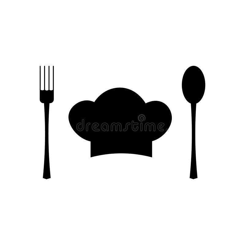 Μάγειρας, λογότυπο αρχιμαγείρων ή ετικέτα Απεικόνιση για το εστιατόριο ή τον καφέ επιλογών σχεδίου επίσης corel σύρετε το διάνυσμ απεικόνιση αποθεμάτων
