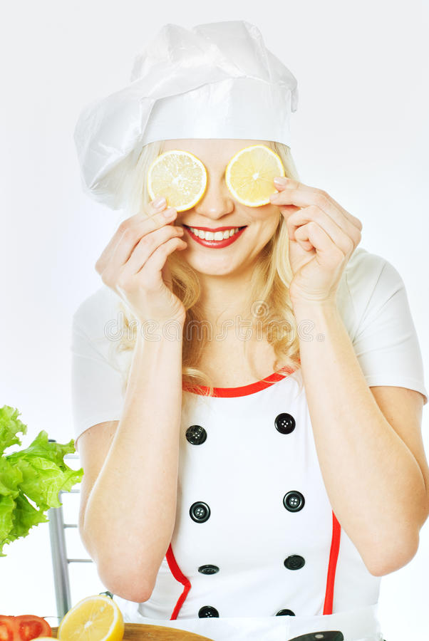 Μάγειρας με τα λαχανικά στοκ εικόνα