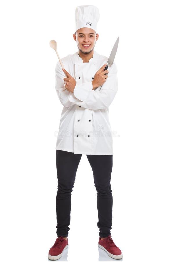 Μάγειρας νεαρών άνδρων το αρσενικό πορτρέτο σωμάτων εργασίας πλήρες που απομονώνεται που μαγειρεύει στο λευκό στοκ εικόνα