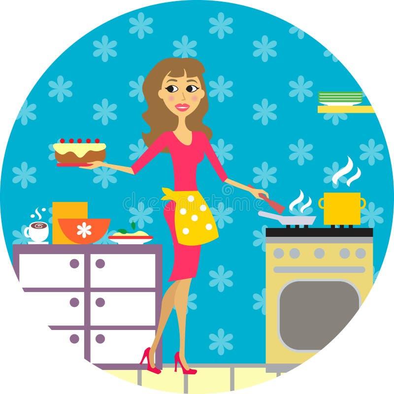 Μάγειρες γυναικών στην κουζίνα απεικόνιση αποθεμάτων