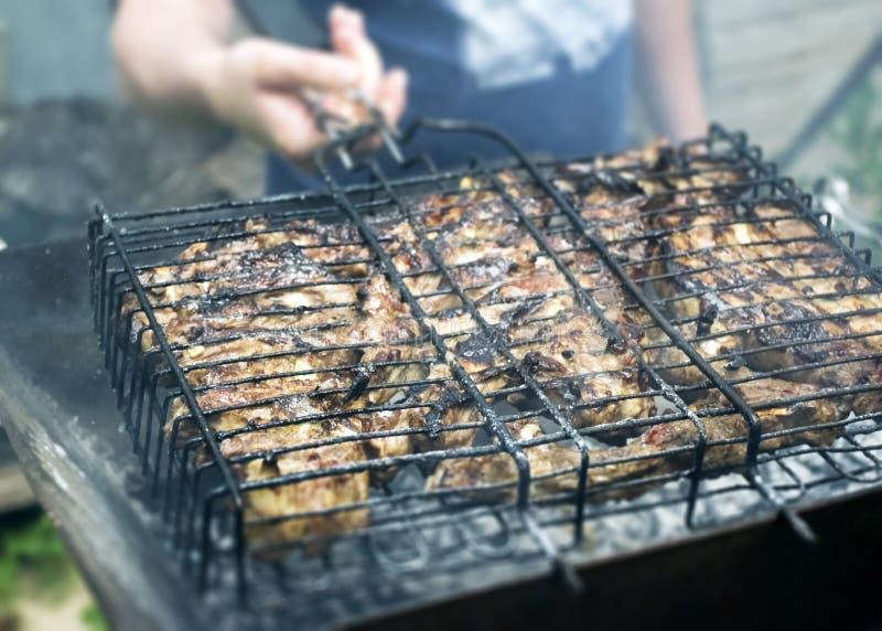 Μάγειρες κρέατος στους καυτούς άνθρακες στον καπνό Πικ-νίκ στη φύση στοκ φωτογραφίες με δικαίωμα ελεύθερης χρήσης