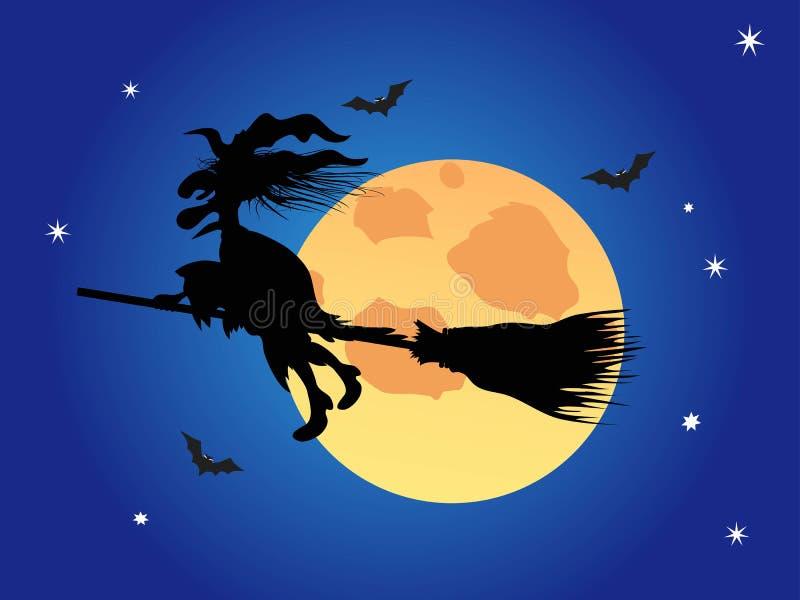 Μάγισσα αποκριών στον μπλε νυχτερινό ουρανό διανυσματική απεικόνιση