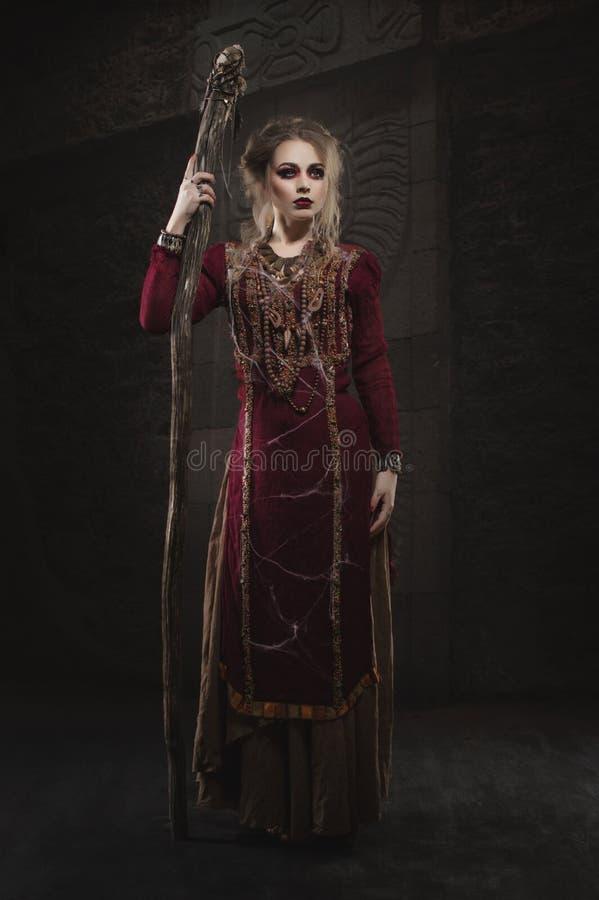 Μάγισσα γυναικών στο κόκκινο φόρεμα στοκ φωτογραφίες με δικαίωμα ελεύθερης χρήσης