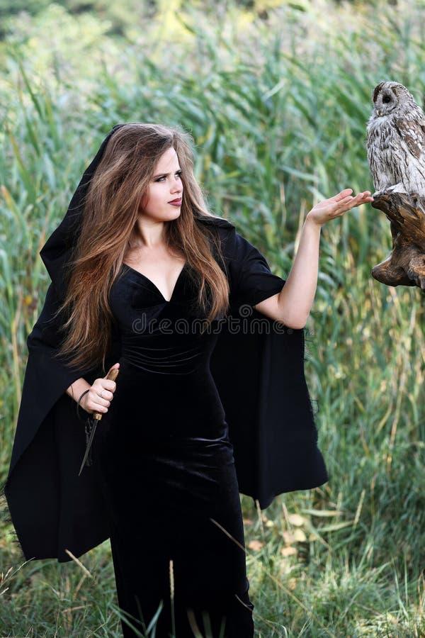 Μάγισσα που κρατά ένα στιλέτο στοκ εικόνες