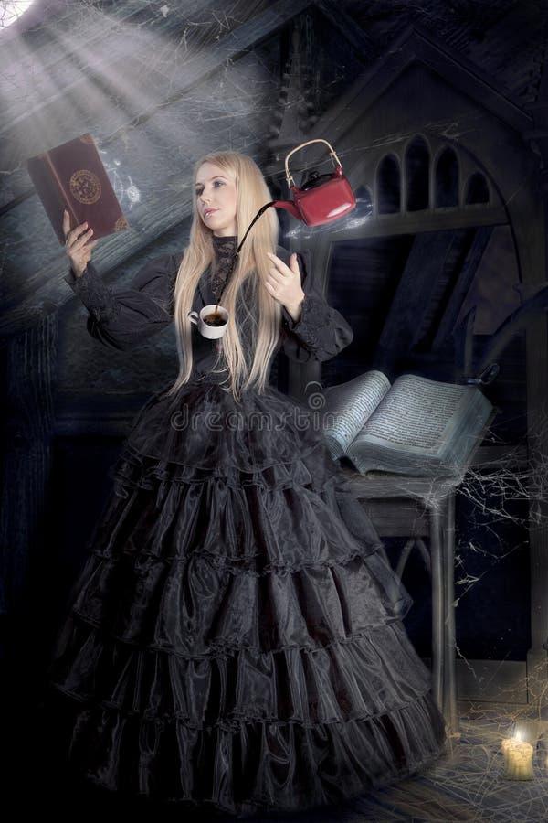 Μάγισσα σε ένα όμορφο φόρεμα στοκ εικόνες