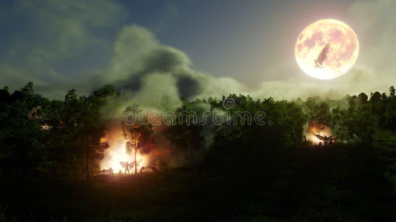 Μάγισσες Helloween στο δασικό μυστήριο με την απεικόνιση υποβάθρου έννοιας φωτιών στοκ εικόνα