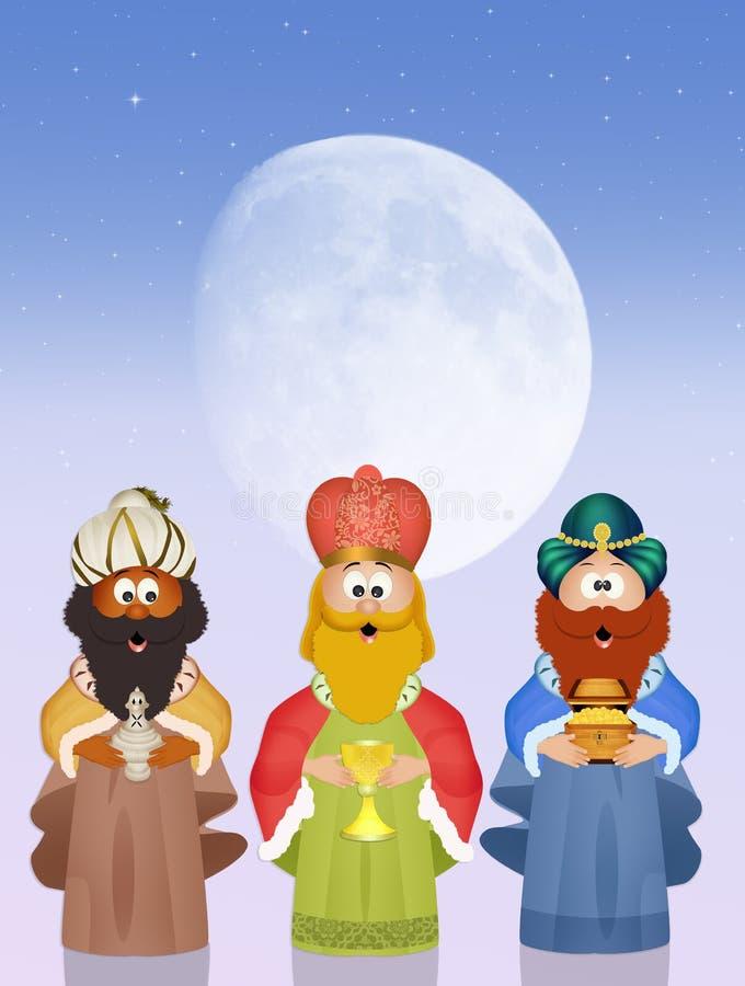 Μάγοι βασιλιάδων με το χρυσό, το θυμίαμα και myrrh ελεύθερη απεικόνιση δικαιώματος