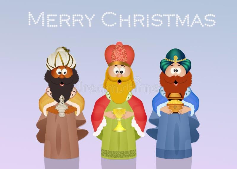 Μάγοι βασιλιάδων με το χρυσό, το θυμίαμα και myrrh διανυσματική απεικόνιση