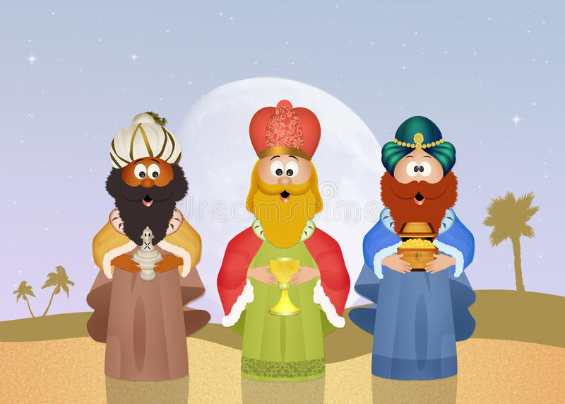 Μάγοι βασιλιάδων με το χρυσό, το θυμίαμα και myrrh απεικόνιση αποθεμάτων
