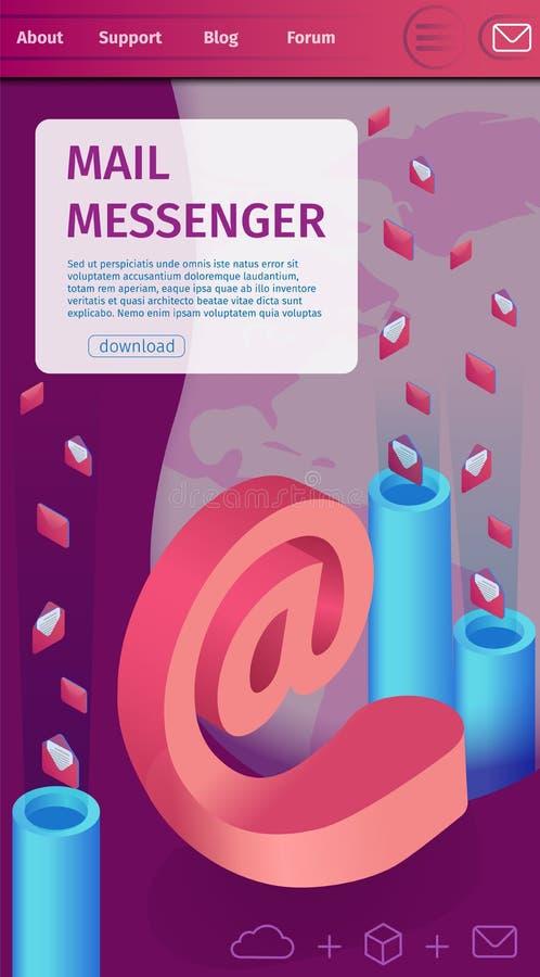 Μάζα απεικόνισης που ταχυδρομεί το γραπτό αγγελιοφόρο ταχυδρομείου ελεύθερη απεικόνιση δικαιώματος