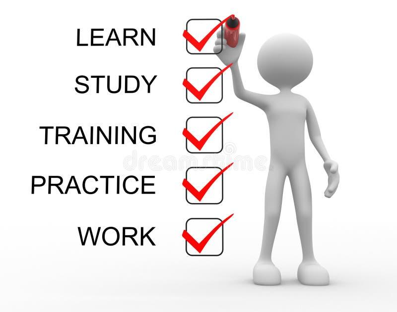 Μάθετε, μελετήστε, πρακτική, κατάρτιση, εργασία ελεύθερη απεικόνιση δικαιώματος