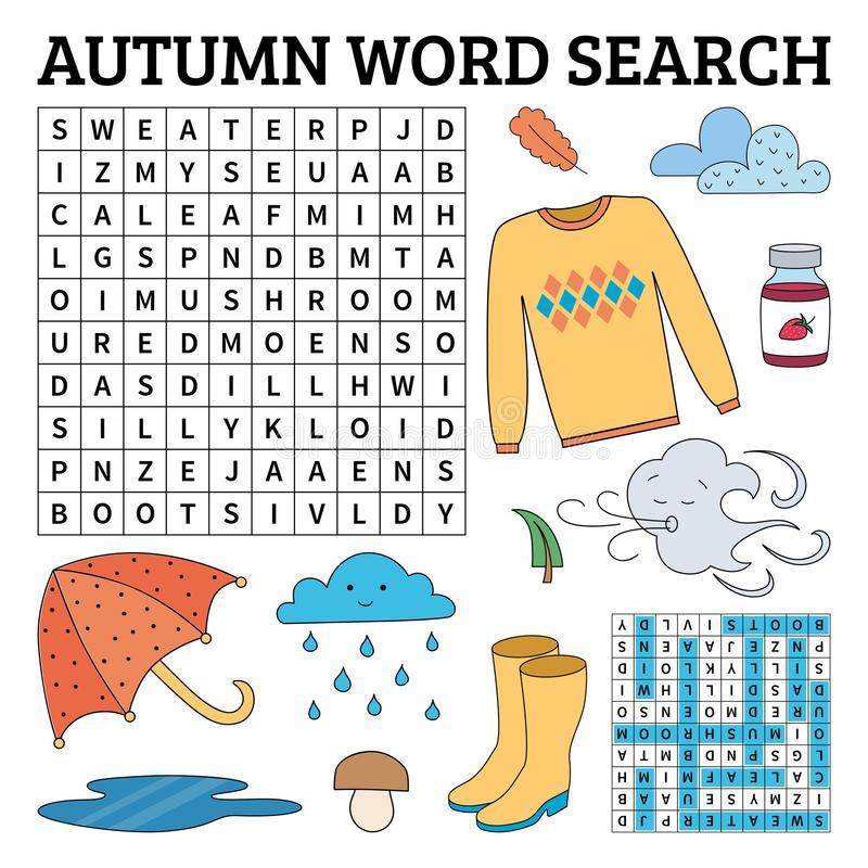Μάθετε τα αγγλικά με ένα παιχνίδι αναζήτησης λέξης φθινοπώρου για τα παιδιά Διάνυσμα ι ελεύθερη απεικόνιση δικαιώματος