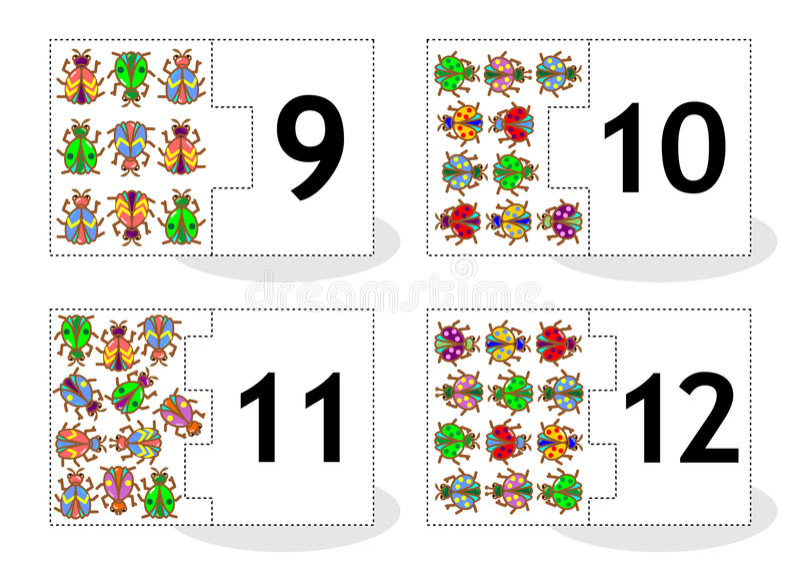 Μάθετε τις μετρώντας κάρτες γρίφων με τα ζωύφια και τους κανθάρους, αριθμοί 9 - 12 ελεύθερη απεικόνιση δικαιώματος