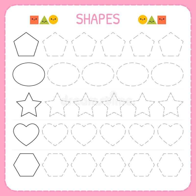 Μάθετε τις μορφές και τους γεωμετρικούς αριθμούς Φύλλο εργασίας παιδικών σταθμών ή παιδικών σταθμών για την άσκηση των δεξιοτήτων απεικόνιση αποθεμάτων