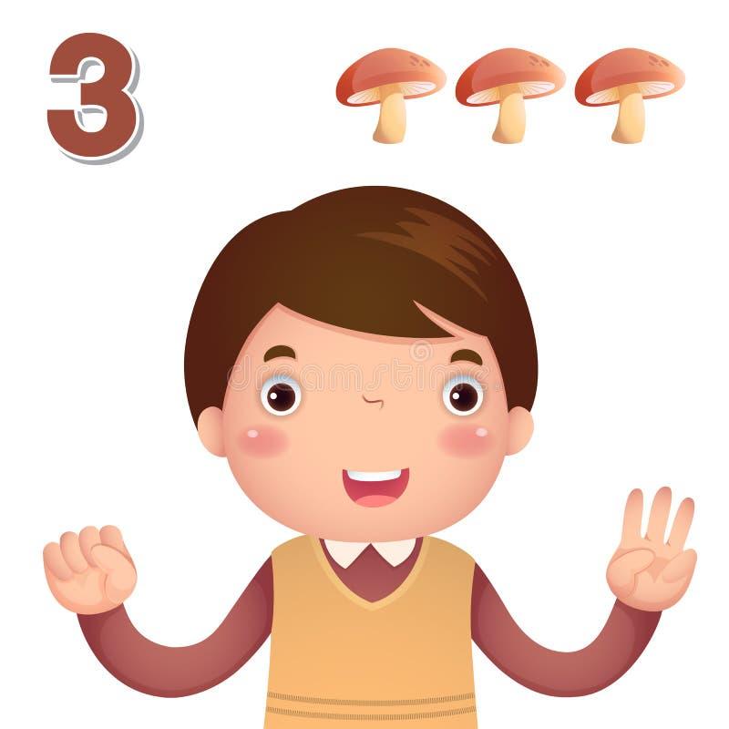 Μάθετε τον αριθμό και τον υπολογισμό με το χέρι kid's που παρουσιάζει τον αριθμό τ διανυσματική απεικόνιση