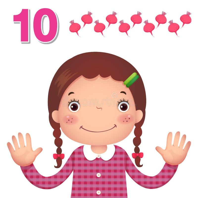 Μάθετε τον αριθμό και τον υπολογισμό με το χέρι kid's που παρουσιάζει τον αριθμό τ ελεύθερη απεικόνιση δικαιώματος