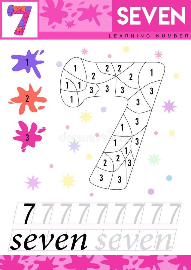 Μάθετε τους αριθμούς 7 επτά Τα παιδιά μαθαίνουν να μετρούν το φύλλο εργασίας Εκπαιδευτικό παιχνίδι παιδιών για τους αριθμούς επίσ ελεύθερη απεικόνιση δικαιώματος