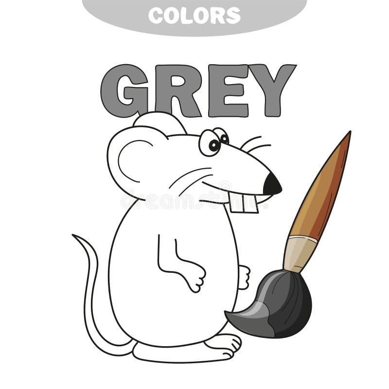 Μάθετε το γκρίζο - πράγματα που είναι γκρίζο χρώμα - ποντίκι χρώματος - χρωματίζοντας βιβλίο ελεύθερη απεικόνιση δικαιώματος