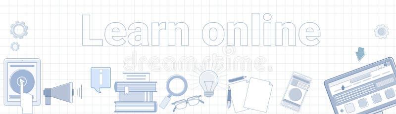 Μάθετε το σε απευθείας σύνδεση Word στην τακτοποιημένη έννοια εκπαίδευσης Elearning εμβλημάτων υποβάθρου οριζόντια ελεύθερη απεικόνιση δικαιώματος