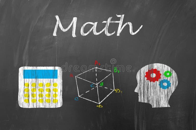 Μάθημα Math στην έννοια σχολικών πινάκων διανυσματική απεικόνιση