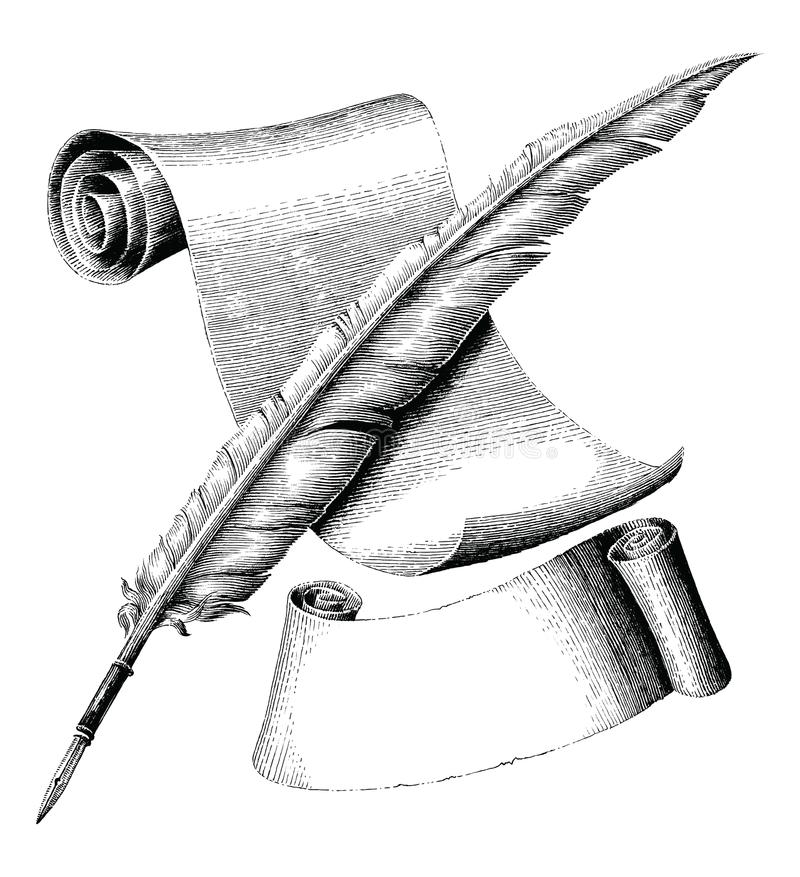 Μάνδρα καλαμιών και κενό έγγραφο με το χέρι εμβλημάτων που σύρει το εκλεκτής ποιότητας engra απεικόνιση αποθεμάτων