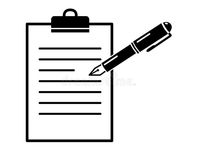 Μάνδρα στο φάκελλο εγγράφου, απλό μαύρο διανυσματικό εικονίδιο, σημάδι W registeror διανυσματική απεικόνιση