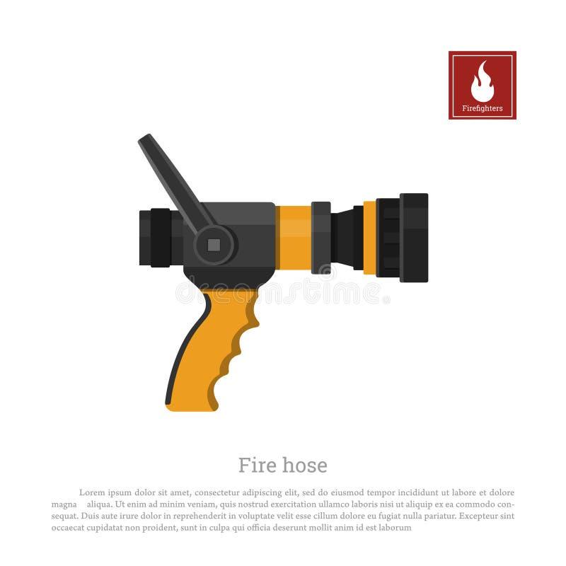 Μάνικα πυρκαγιάς σε ένα άσπρο υπόβαθρο Εξοπλισμός πυροσβεστών στο ρεαλιστικό ύφος απεικόνιση αποθεμάτων