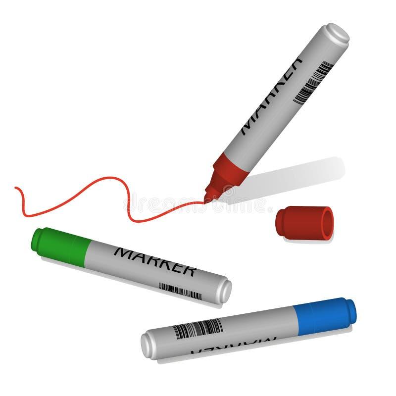 Μάνδρες δεικτών, κόκκινο, πράσινος, μπλε διανυσματική απεικόνιση