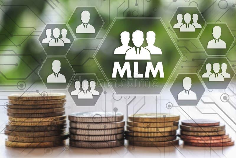 μάρκετινγκ επιπέδων πολυ MLM στην οθόνη αφής με ένα fina θαμπάδων στοκ εικόνες