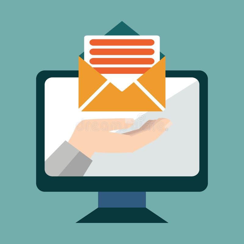 Μάρκετινγκ ηλεκτρονικού ταχυδρομείου εννοιολογικό, χέρι από μια επιστολή ηλεκτρονικού ταχυδρομείου εκμετάλλευσης οθόνης οργάνων ε ελεύθερη απεικόνιση δικαιώματος