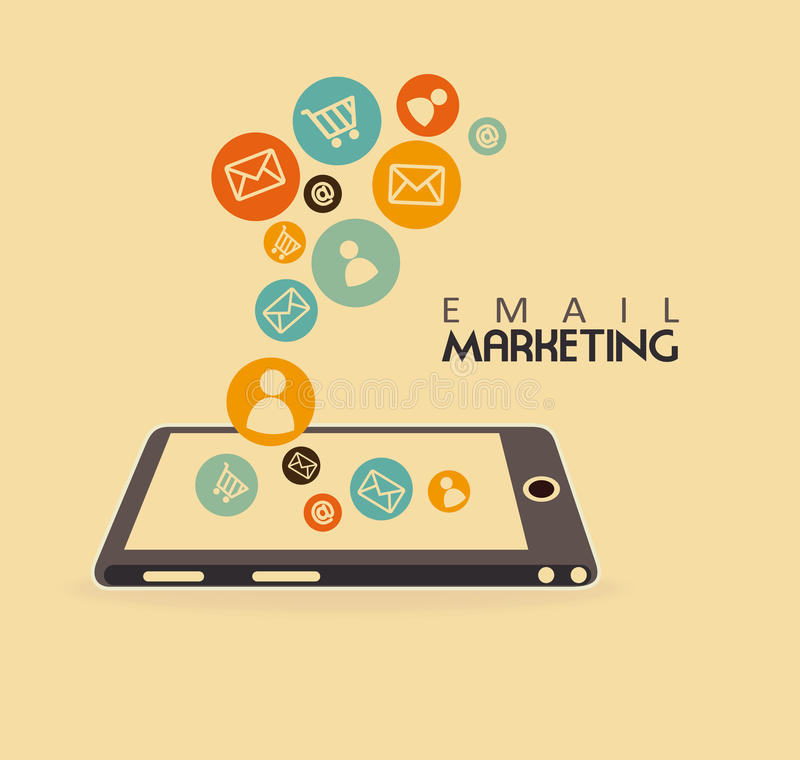 Μάρκετινγκ ηλεκτρονικού ταχυδρομείου ελεύθερη απεικόνιση δικαιώματος
