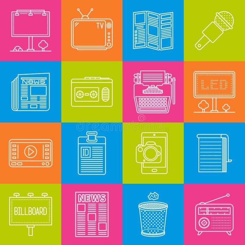 Μάρκετινγκ και ελάχιστο διάνυσμα διαφημίσεων lineart iconset στην πολύχρωμη ελεγμένη σύσταση απεικόνιση αποθεμάτων