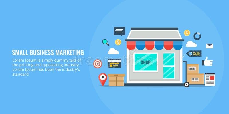 Μάρκετινγκ μικρών επιχειρήσεων, on-line που ψωνίζει, κατάστημα, ε -ε-comerce μάρκετινγκ, τοπική έννοια seo Επίπεδη διανυσματική α διανυσματική απεικόνιση
