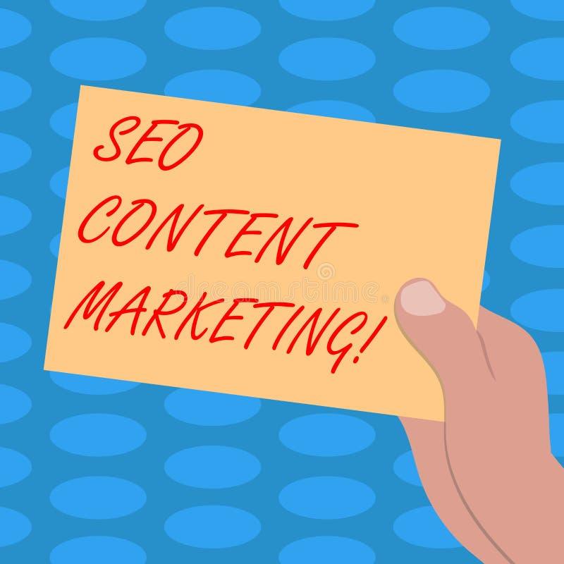 Μάρκετινγκ περιεκτικότητας σε Seo κειμένων γραψίματος λέξης Επιχειρησιακή έννοια για τη δημοσίευση του υλικού με σκοπό να προωθήσ ελεύθερη απεικόνιση δικαιώματος
