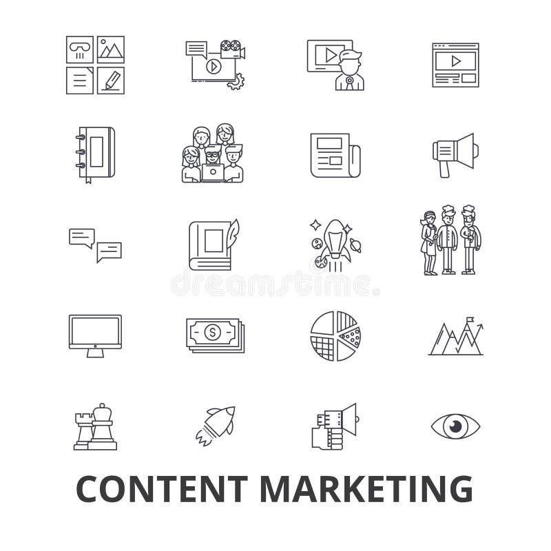 Μάρκετινγκ περιεχομένου, κοινωνικά μέσα, διαχείριση, σε απευθείας σύνδεση, κείμενο γραψίματος, εικονίδια γραμμών πληροφοριών Κτυπ διανυσματική απεικόνιση