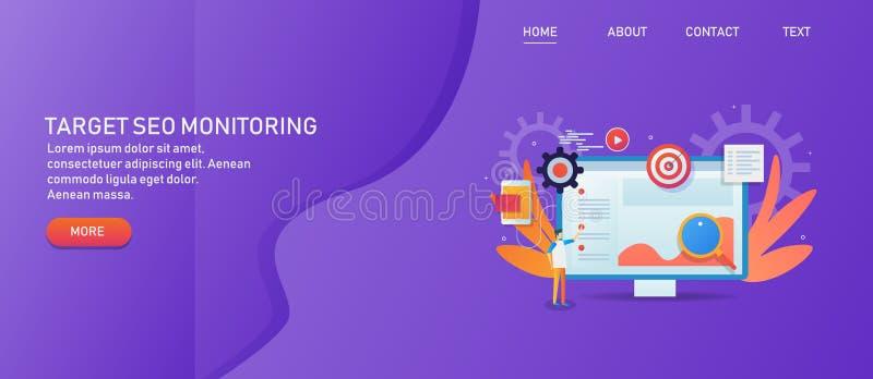 Μάρκετινγκ στόχων, ψηφιακή διαφήμιση, κοινωνικό μάρκετινγκ μέσων και βελτιστοποίηση μηχανών αναζήτησης, ανάλυση στοιχείων, ανάπτυ διανυσματική απεικόνιση