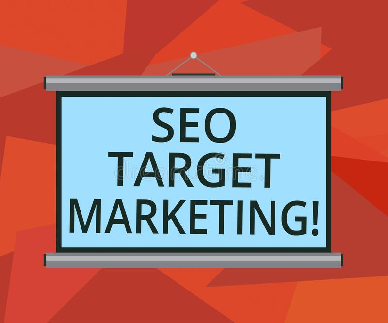 Μάρκετινγκ στόχων Seo κειμένων γραψίματος λέξης Επιχειρησιακή έννοια για τη σύνδεση με μια συγκεκριμένη ομάδα μέσα σε εκείνο το κ απεικόνιση αποθεμάτων