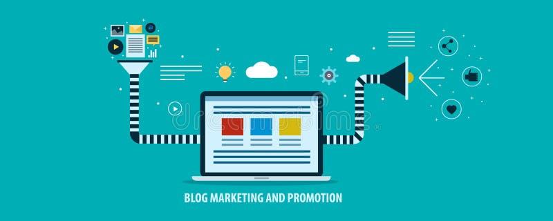 Μάρκετινγκ Blog και προωθητική χοάνη για την έννοια παραγωγής μολύβδου Επίπεδο διανυσματικό έμβλημα σχεδίου απεικόνιση αποθεμάτων